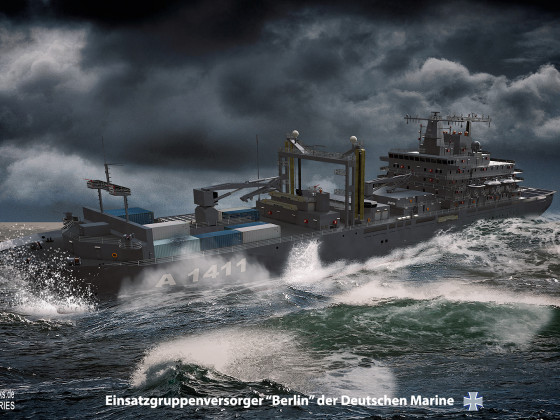 "Einsatzgruppenversorger ""Berlin"" in stürmischer See / Task force supplier ""Berlin"" in stormy sea"